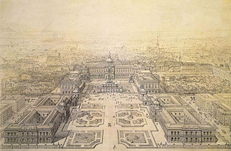 Heldenplatz - Blueprint of the planned Kaiserforum by Gottfried Semper