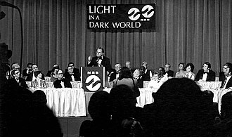National Religious Broadcasters - Evangelist Billy Graham speaks at the NRB convention, 1977