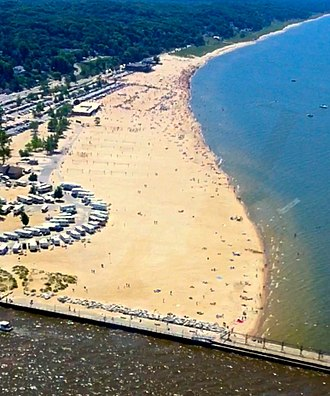 Grand Haven, Michigan - Aerial view of Grand Haven State Park.