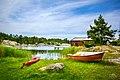 Grass beach, boats and buildings at Fjärdlång, Stockholm (Sweden) - panoramio.jpg