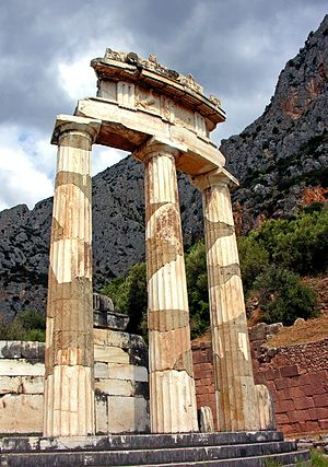 Tholos of Delphi - the three reconstructed Doric columns of the tholos