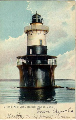 Greens Ledge Light - The light in a 1907 postcard