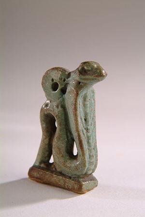 Uraeus - Green glazed cobra amulet in the form of a Uraeus