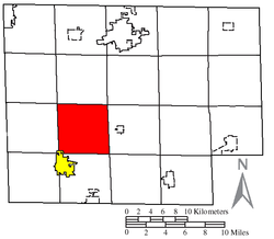 Location of Greenfield Township (red) in Huron County, next to the city of Willard (yellow)