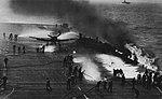 Grumman F6F-5 Hellcat after landing accident aboard USS Randolph (CV-15), in 1945.jpg