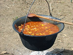 "Cauldron - Hungarian goulash in a traditional ""bogrács"" (cauldron)"