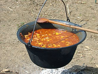 "Goulash - Gulyás in a traditional ''""bogrács""''"