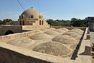 Hassan Fathy - Roof and dome of the mosque at Kourna seen from the minaret