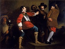 In a stone-walled room, several armed men physically restrain another man, who is drawing his sword.