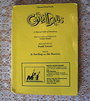 Frank Loesser - Guys and Dolls, Libretto and Vocal book, printed by Music Theatre International, 1978.