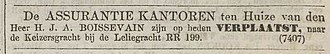 Keizersgracht 143 - 1859 ad announcing opening of insurance office in the building