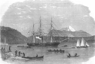 HMS Plumper (1848) - HMS Plumper at Port Harvey, Vancouver Island from a drawing by E P Bedwell