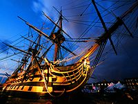 HMS Victory at dusk. MOD 45143807