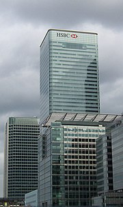 The HSBC bank headquarters 8 Canada Square in Canary Wharf. HSBC is the largest corporation in the world according to the Forbes Global 2000 rankings.