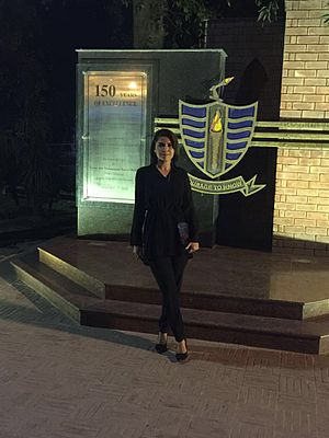 Hadiqa Kiani - Hadiqa attending the anniversary of Government College Lahore in 2016, where she was honored for being one of the highest achieving alumni of the historic university.