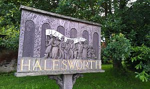 Halesworth - Town placard, as of July 2012.