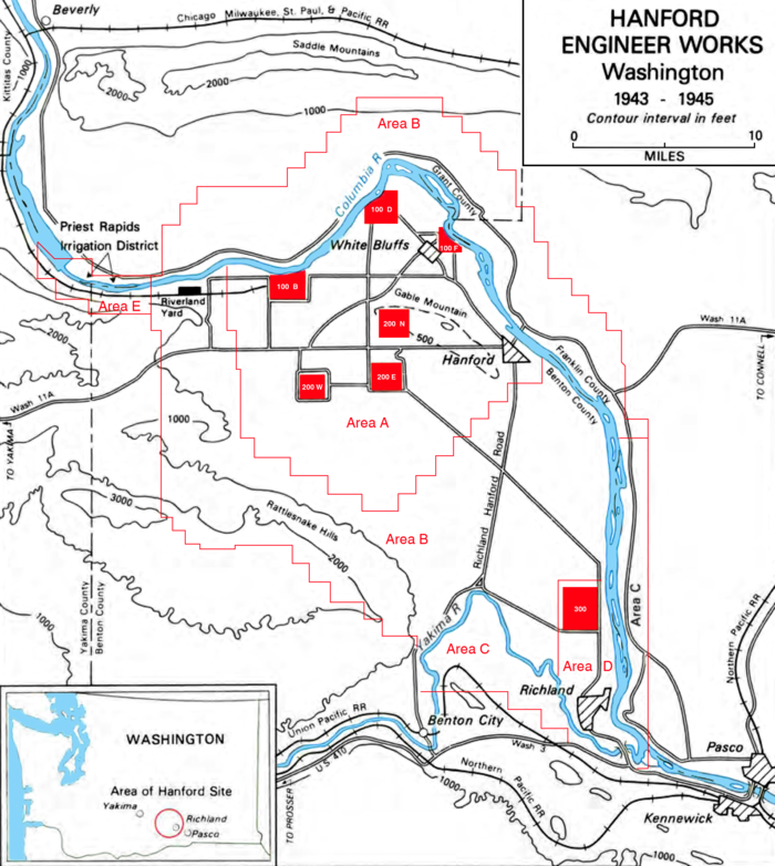 Map of the Hanford Site. Railroads flank the plants to the north and south. Reactors are the three northernmost red squares, along the Columbia River. The separation plants are the lower two red squares from the grouping south of the reactors. The bottom red square is the 300 area. Hanford Engineer Works.png