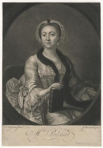 James MacArdell - Portrait of the actress Hannah Pritchard, 1762 mezzotint by MacArdell after Francis Hayman.