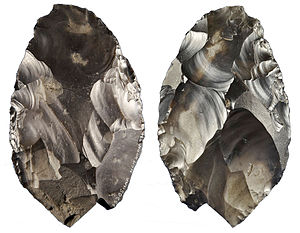 Happisburgh footprints - Paleolithic handaxe from Happisburgh, found on the beach by a man walking his dog in 2000