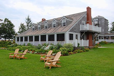 Dewhurst's summer home at Fortune Bridge, Prince Edward Island was built by the playwright Elmer Blaney Harris. It is a private inn as of August 2008. HarrisHouse FortuneBridgePE Wide.jpg