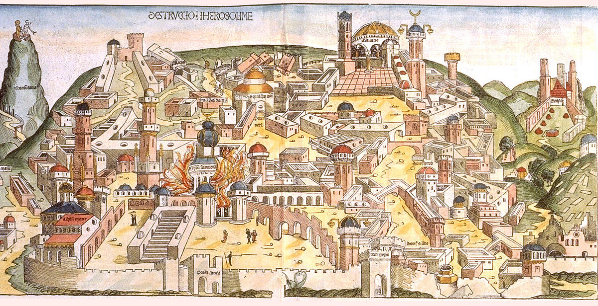 בתמונה: חורבן בית ראשון על ידי הכשדים. מתוך הכרוניקה של נירנברג. 1493.