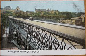 Sheridan Hollow, Albany, New York - Hawk Street Viaduct in 1905; over Sheridan Hollow facing west towards State Capitol and Cathedral of All Saints.