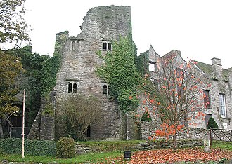 Hay Castle - Hay Castle from the north, showing the gateway and keep (left) and the mansion house (right)