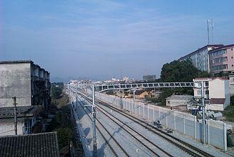 Hunan–Guangxi Railway - The electrified tracks of the Xianggui Railway at Lingchuan County, north of Guilin, in Guangxi.