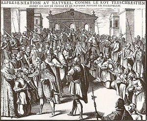 "History of tuberculosis - Henry IV of France touching numerous sickly individuals during the ceremony of the ""royal touch"". The original caption reads: Des mirabili strumas sanandi vi solis Galliae regibus christianissimis divinitus concessa liber unus."