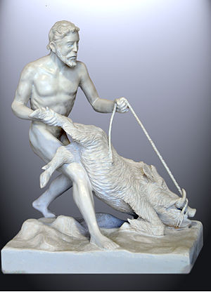 English: Heracles and the Erymantian boar. Sta...