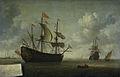 Het opbrengen van het Engelse admiraalsschip de 'Royal Charles', buitgemaakt tijdens de tocht naar Chatham, juni 1667 Rijksmuseum SK-A-1389.jpeg