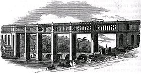 Le High Level Bridge et le pont de pierre de 1781Gravure de 1852