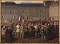 Hippolyte Lecomte - Les polytechniciens portant le crucifix sauvé de la chapelle des Tuileries, lors des émeutes du 24 février 1848 - P2513 - Musée Carnavalet.jpg