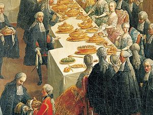 Kaiser roll - Kaiser rolls at a court banquet of Maria Theresa about 1760, detail from a painting by Martin van Meytens