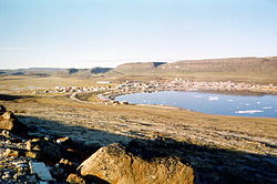 Looking at Ulukhaktok from the bluffs that give the community its name.