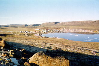 Ulukhaktok - Looking at Ulukhaktok from the bluffs that give the community its name.