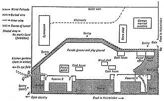 Holzminden prisoner-of-war camp - Plan of Holzminden PoW camp by H. G. Durnford. South is at the top.