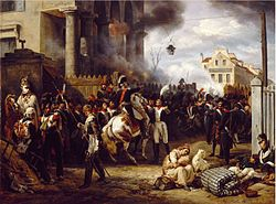 Painting showing blue-coated soldiers defending a position in a city
