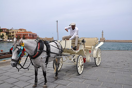 Horse-drawn carts in Chania, Creete 002