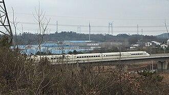 Shanghai–Nanjing intercity railway - A train on Shanghai–Nanjing intercity high-speed railway in Qixia District, Nanjing