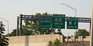 Interstate 79 - Exit signs for US 20, PA 5, PA 290 and the terminus for I-79 in Erie, PA.