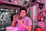 ISS-55 Norishige Kanai with lettuce inside the Columbus lab.jpg