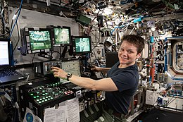 ISS-59 Anne McClain trains with the robotics workstation inside the Destiny lab.jpg