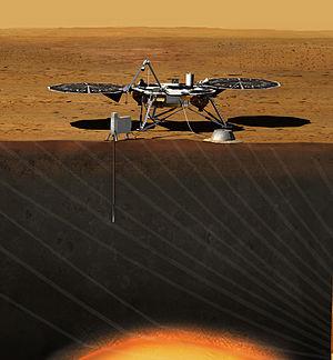 InSight auf dem Mars (künstlerische Darstellung)