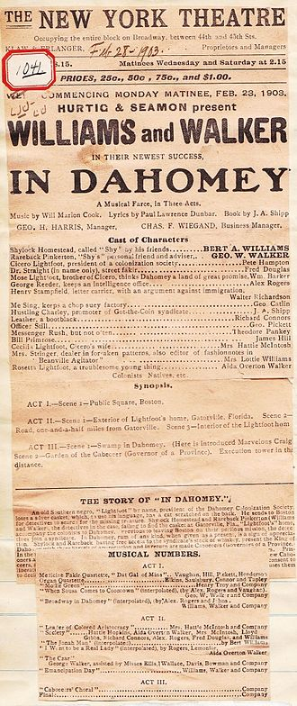 In Dahomey - Original program from In Dahomeys debut tour.