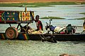 In Djenné, Mali, crossing Niger River in a canoo. The horse has to swim. (32535119190).jpg