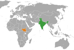 Map indicating locations of India and दक्षिण सूडान