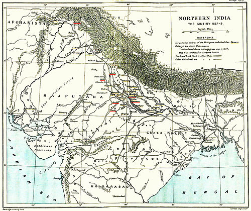 A 1912 map of &quotNorthern India - Indian Rebellion of 1857–59&quot showing the centers of rebellion - Indian Rebellion of 1857