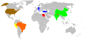 Indiana Jones (franchise) - The countries visited in the four Indiana Jones films. Red = Countries visited in Raiders Green = Countries visited in Temple of Doom Brown = Visited in Raiders, Last Crusade, and Crystal Skull Blue = Countries visited in Last Crusade Yellow = Countries visited in Raiders and Crystal Skull Orange = Countries visited in Crystal Skull