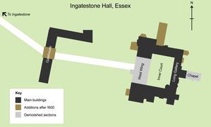 Ingatestone Hall - Plan of Ingatestone Hall showing the additions and demolished sections